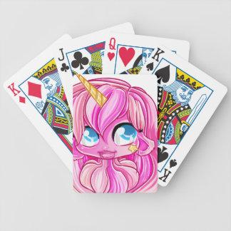 Pink unicorn girl bicycle playing cards