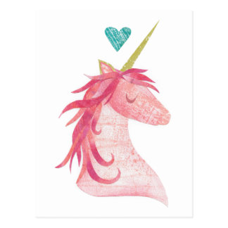 Pink Unicorn Magic with Heart Postcard