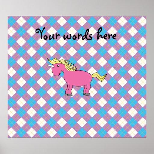 Pink unicorn on argyle background posters