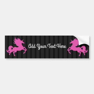 Pink Unicorn on Black Background (IPU) Bumper Sticker