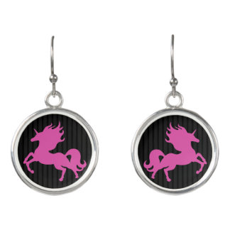 Pink Unicorn on Black Background (IPU) Earrings