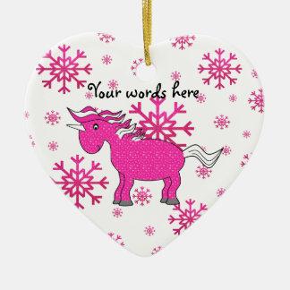 Pink unicorn pink snowflakes christmas ornament