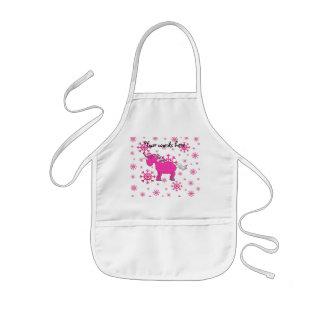 Pink unicorn pink snowflakes kids apron