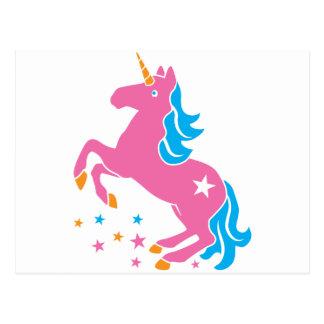 pink unicorn postcard
