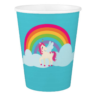 Pink Unicorn Rainbow Paper Cups
