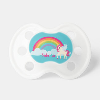 Pink Unicorn Rainbow Personalized Pacifier