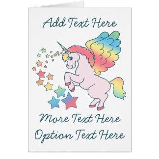 Pink Unicorn Rainbow Star Greeting Card