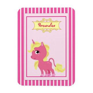 """Pink Unicorn"" Rectangular Photo Magnet"