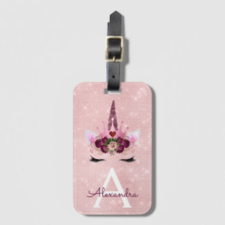 Pink  Unicorn Sparkle Princess Monogram Name Luggage Tag