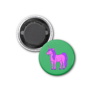 Pink Unicorn with Purple Mane 3 Cm Round Magnet