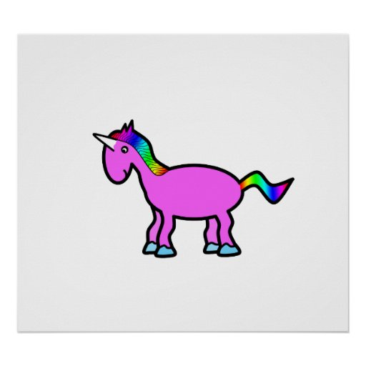 Pink unicorn with rainbow mane posters