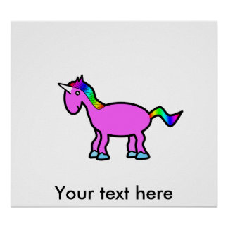 Pink unicorn with rainbow mane print