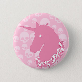 Pink Unicorn with Skulls 6 Cm Round Badge