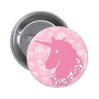 Pink Unicorn with Skulls 6 Cm Round Badge