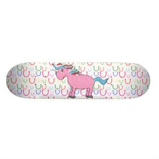 Pink unicorn with white stars 21.6 cm old school skateboard deck