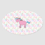 Pink unicorn with white stars oval stickers