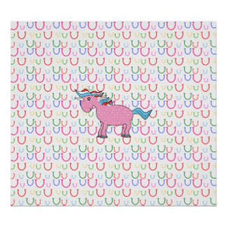 Pink unicorn with white stars poster