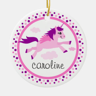 Pink unicorn with wings personalised name round ceramic decoration
