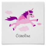 Pink unicorn with wings, wall art for children