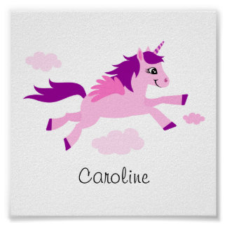 Pink unicorn with wings wall art for children poster