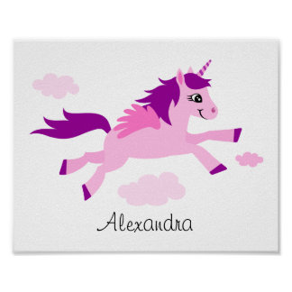 Pink unicorn with wings wall art for children posters