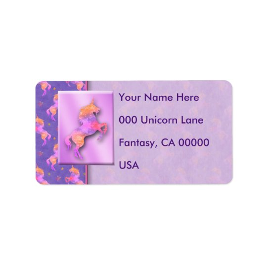 Pink Unicorns Address Label