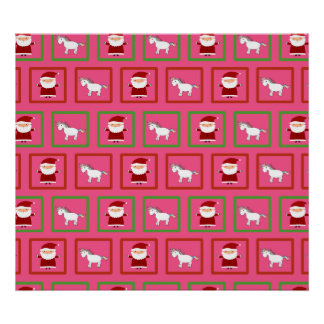 Pink unicorns santa claus pattern print