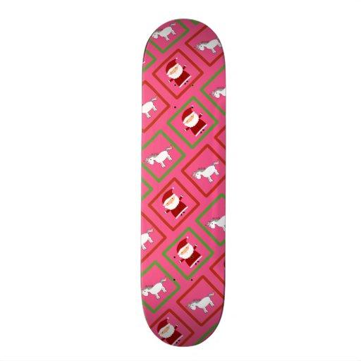 Pink unicorns santa claus pattern skateboards