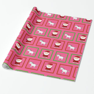 Pink unicorns santa claus pattern wrapping paper