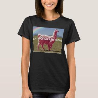 "Pink unillama ""LOL I FCKING HATE PEOPLE"" T-Shirt"