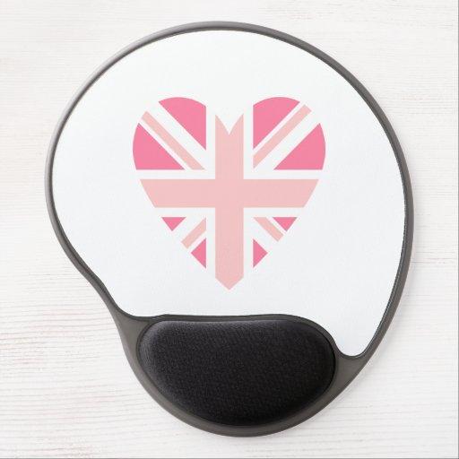 Pink Union Jack/Flag Heart Gel Mouse Mats