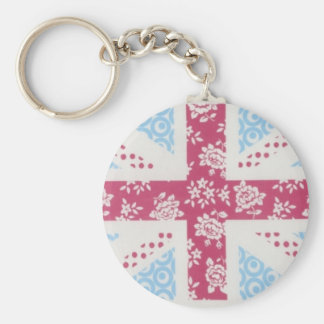 pink union jack key ring