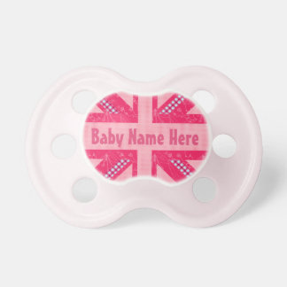 Pink Union Jack United Kingdom British Flag Pacifier