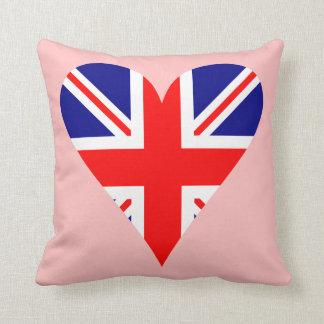 Pink United Kingdom Flag Heart Funky Cushion