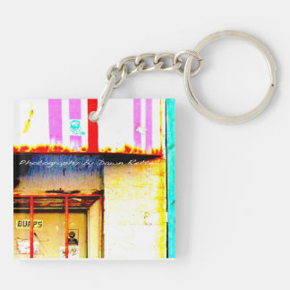 Pink Urban Double-Sided Square Acrylic Key Ring
