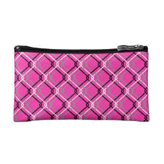 "Pink Urban Grunge. ""Cain-link Check"" pattern. Cosmetic Bags"