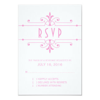 Pink v2 Fancy Ornamental Response Card 9 Cm X 13 Cm Invitation Card