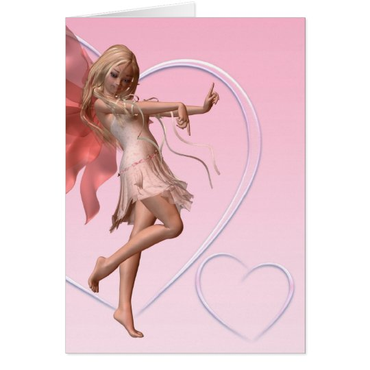 Pink Valentine Fairy and Pink Hearts Card