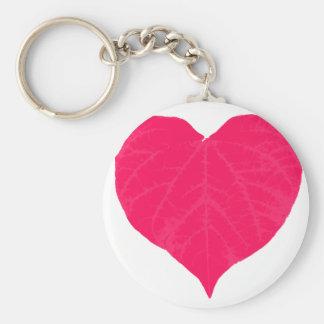 Pink Valentine Heart Leaf Keychains