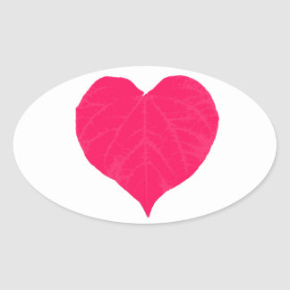 Pink Valentine Heart Leaf Oval Sticker