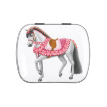 Pink Valentine Heart Parade Horse Candy Tin