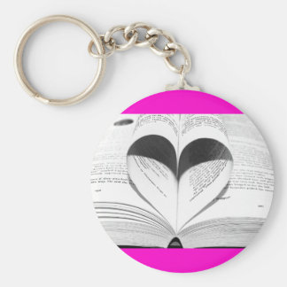 Pink Valentine's Day Girly Heart Save the Date Basic Round Button Key Ring