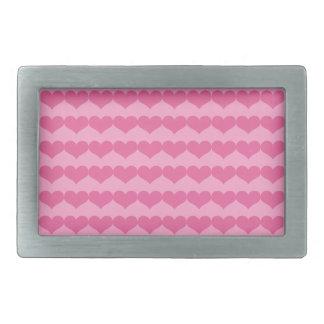Pink Valentine's Day Hearts Pattern on Pink Belt Buckles