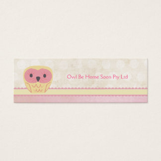 Pink Vanilla Lemon Owl Business Favor Gift Card