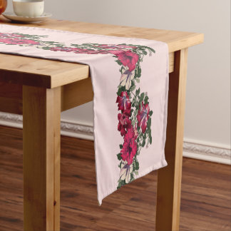 Pink Variegated Ruffled Petunias Vintage Short Table Runner