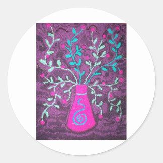 Pink vase with flowers round sticker