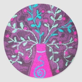 Pink vase with flowers round stickers