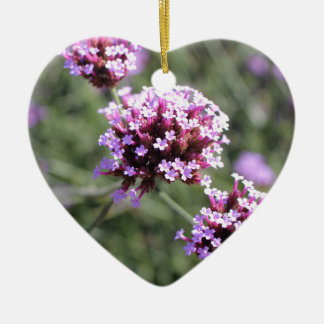 Pink Verbena Flower Sprig Best Friends Heart Ceramic Heart Decoration
