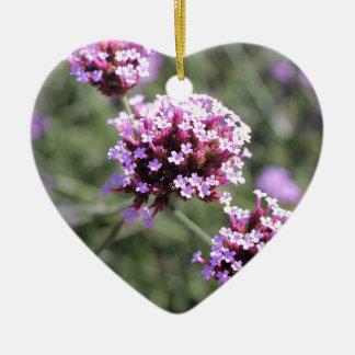 Pink Verbena Flower Sprig Bridesmaid Wedding Heart Ceramic Heart Decoration