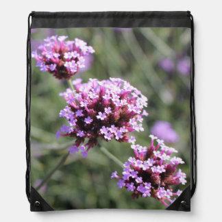 Pink Verbena Sprig in Garden Drawstring Bag